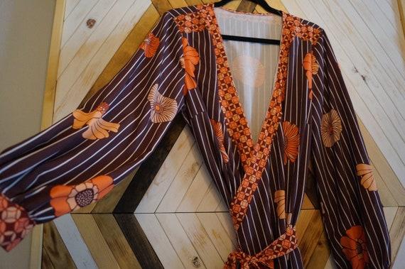 1970s Floral Wrap Dress, Vintage Hippie Wrap Dress