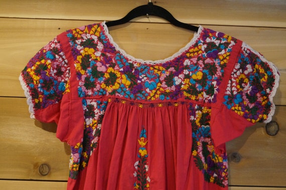 Vintage 1960s Colorful Mexican Embroidered Dress … - image 1
