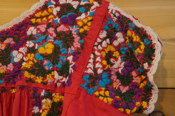Vintage 1960s Colorful Mexican Embroidered Dress … - image 2