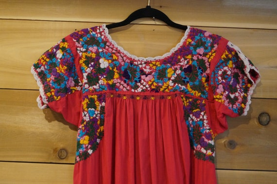 Vintage 1960s Colorful Mexican Embroidered Dress … - image 9