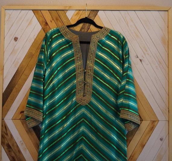 1960s Handmade Vintage Kaftan, Metallic Green Moro