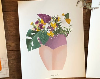 Poster Woman's body and bouquet flowers leaves, drawing female illustration, print woman decoration poster nature spring plant