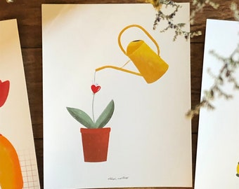 Poster gardening love vintage flowers plants print decoration poster nature spring plant watering tulip
