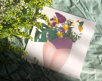 Wish card spring flowers woman bouquet feminism thank you family wish birthday nature love vintage paper