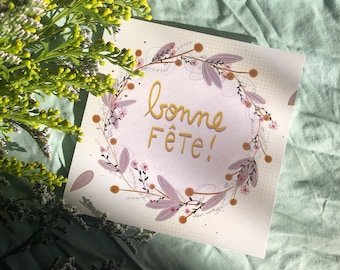 Spring wish card crown flowers plants interior bouquet decoration thanks family friend wishes birthday nature vintage greenery