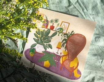 Wish card inside salon plants emmanuelle decoration thanks family friend wish birthday nature love vintage paper
