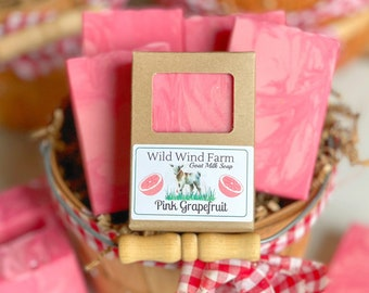 Pink Grapefruit Goat Milk Soap   Fruit Stand Collection   Cold Process   Handmade Artisanal Soap