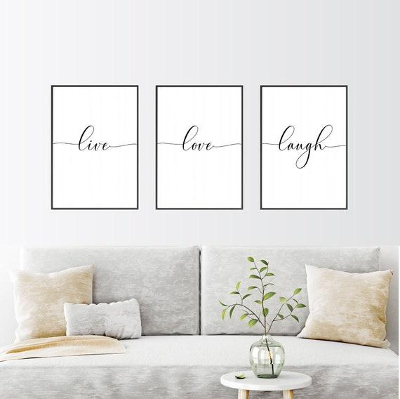 Live Love Laugh Set Of 3 Wall Prints, Wall Portraits Living Rooms