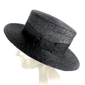 Men's Vintage Style Hats, Retro Hats Black straw boater hat man and woman black straw boater black straw gondolier hat summer black straw canotier summer black straw hat $95.72 AT vintagedancer.com