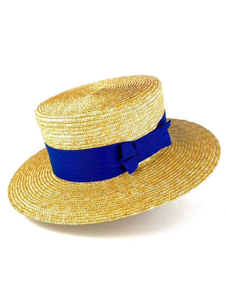 1930s Style Mens Hats and Caps Natural straw boater hat with blue ribbon elegant straw summer boater hat twenties style boater straw hat hand made straw summer hat $82.96 AT vintagedancer.com