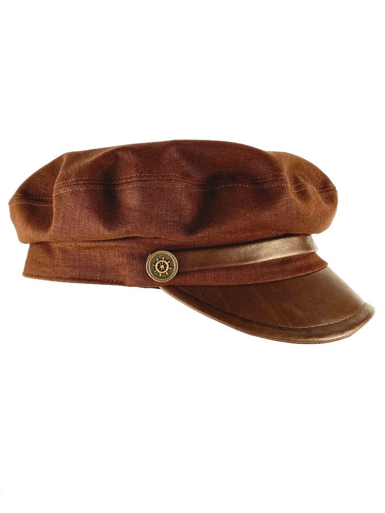 1930s Men's Clothing Brown linen sailor cap with leather visor brown linen summer hat man and woman brown linen hat nautical linen cap brown summer linen hat $95.72 AT vintagedancer.com