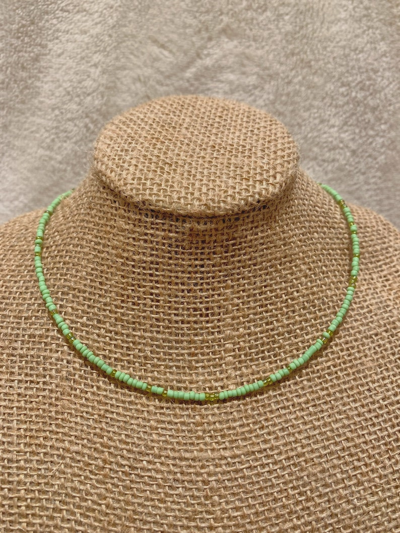Green Beaded Seedbead Choker Bohemian Minimalist Layering Necklace Vsco