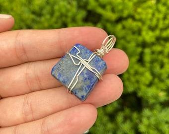 1 Pc 20-22x24-27 mm Lapis Lazuli Natural Square Gemstone Pendant GSP100222