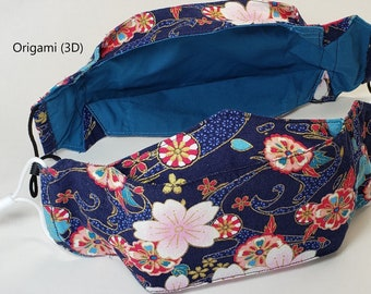 Asian Inspired 3D Facemasks, Elastic Loops, Triple Layer 100% Cotton*, Proceeds to Charity, Unique, Washable, Long Lasting