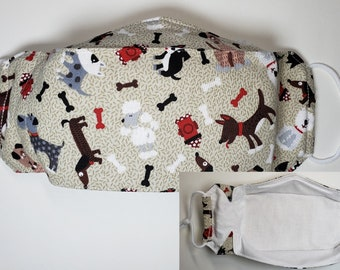 Dog Themed 3D Facemasks, 3 Layer 100% Cotton*, Proceeds to Charity, Fun, Washable, Long Lasting