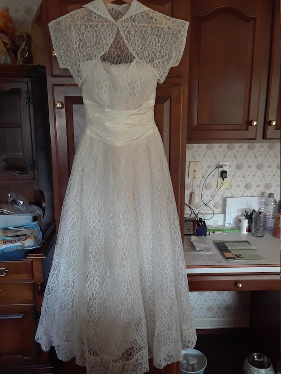Vintage Satin, Lace Formal Gown with Jacket