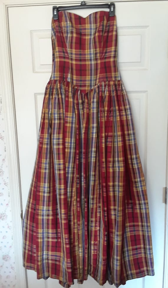 Red plaid vintage formal gown