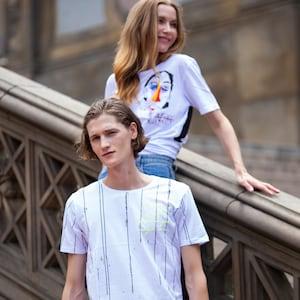 U 28 Unisex Men Women street fashion modern design White graphic T-shirt