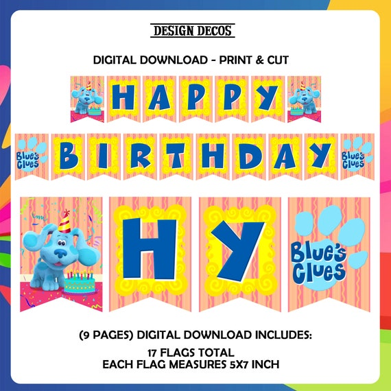 Blues Clues Birthday Banner Blues clues Handmade Blues clues birthday banner blues clues birthday Blue and Magenta Blues clues party