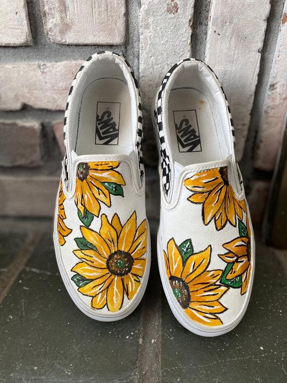 Hand painted Sunflower Vans | Etsy