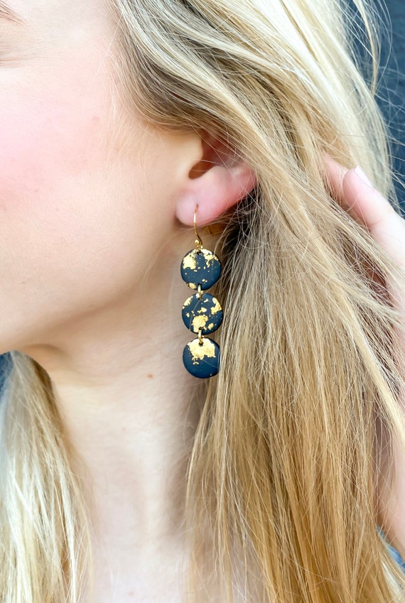 18k Gold Plated Jump Rings and Post The Clara Polymer Clay Earrings Lightweight Earrings The Gatsby Collection Clay Earrings
