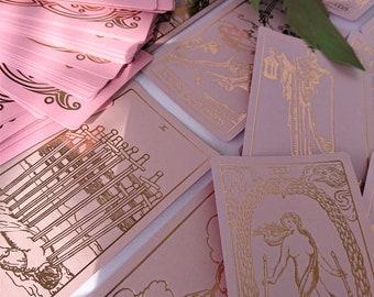 PRE-ORDER  September 2021!Rose Quartz Tarot Cards Pink Gold Foil,Tarot Pink Rose gold,Pink Classic Tarot Deck