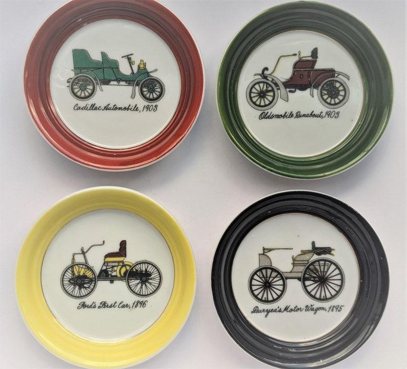 Vintage porcelain car coasters Made in Japan image 0