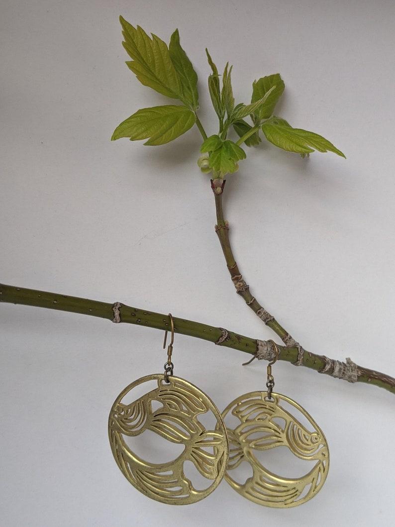 Glam Vintage 80s Laila Rowe Goldfish dangle earrings metal image 0