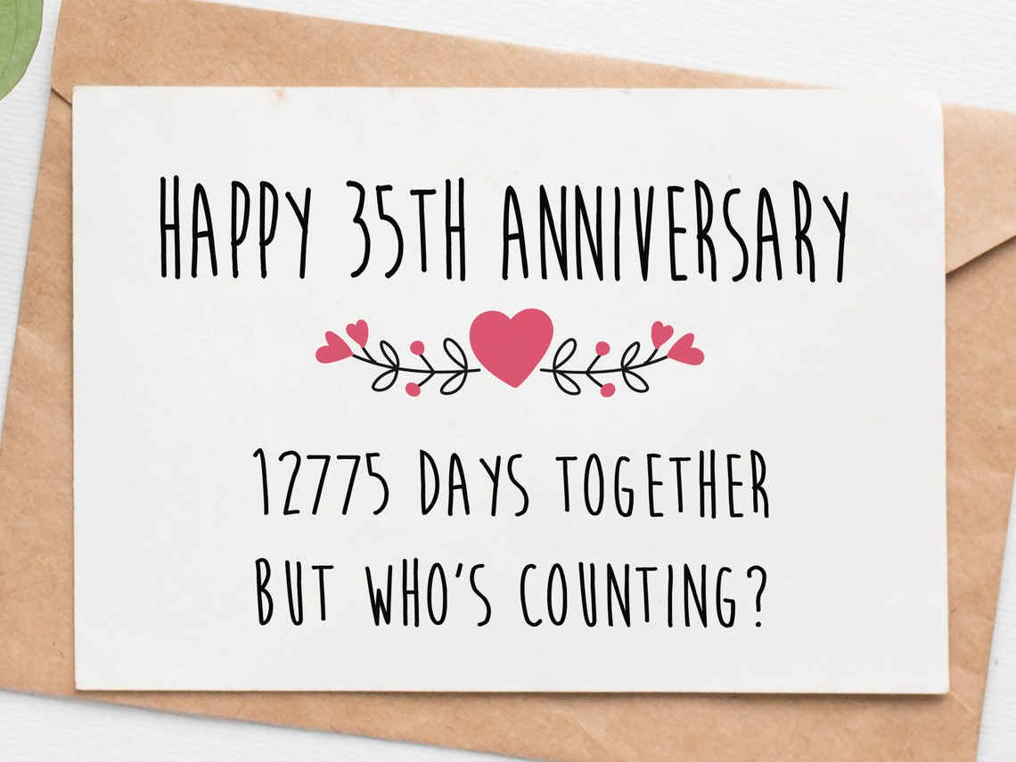 funny 35th anniversary card for husband wife 35 year  etsy