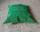 Green Pillowcase Style morocco berber hand woven 20x20 inches -customizable cover pillow