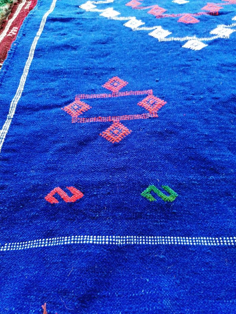 Fabulous floor rug with Hanbal Rug design Berber Rug Moroccan Rug Area Rug Wool Rug Handmade rug Blue Beautiful Berber Moroccan Rug