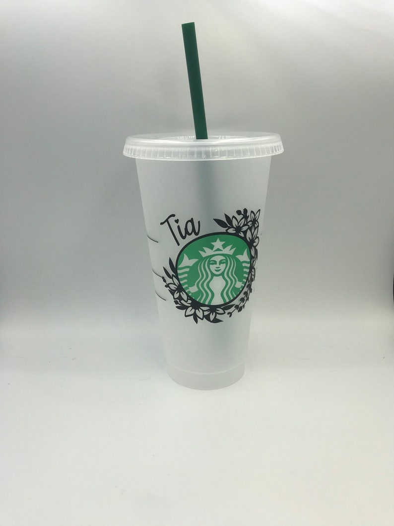 Floral wreath personalized Starbucks cup custom Starbucks cup Starbucks custom cold cup-floral starbucks cup