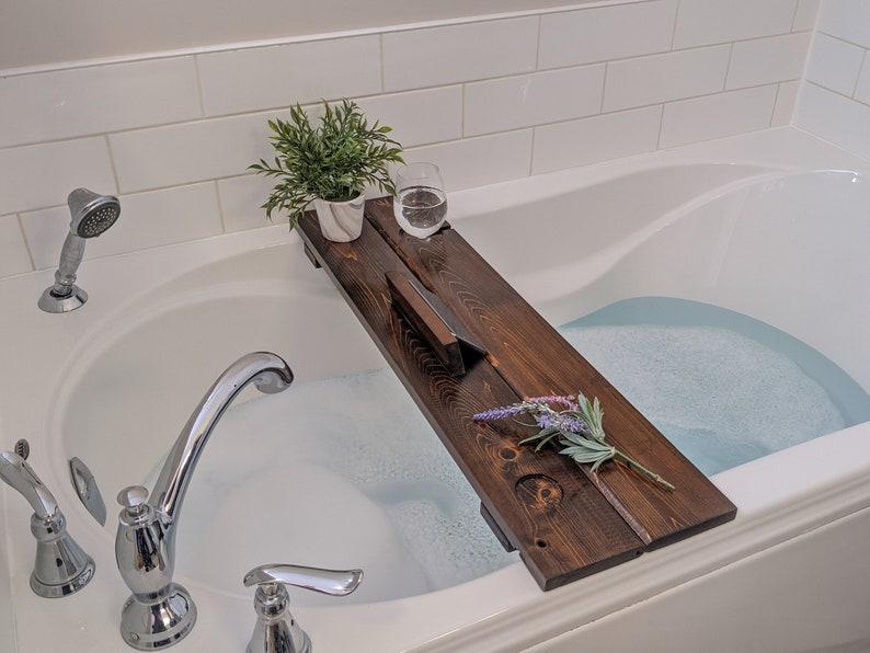 Mothers Day Bath Caddy Gift Tub Shelf Bathtub Tray Dark Wood