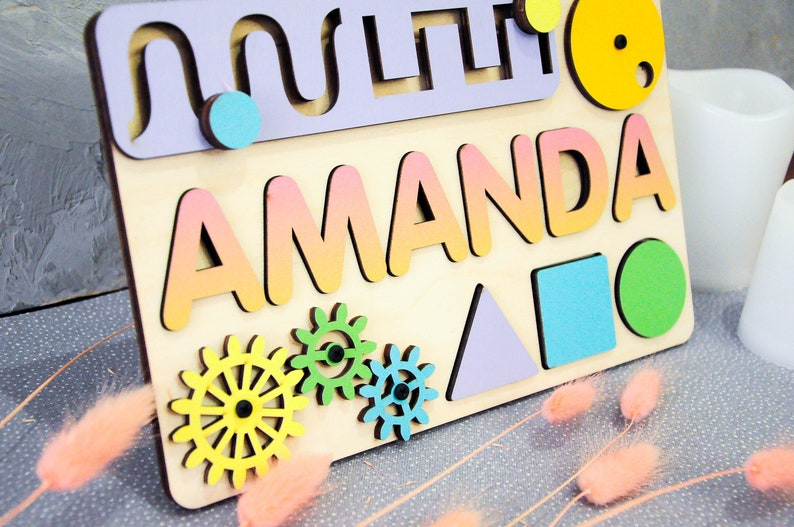 Wooden name puzzle for toddler busy board baby name sign ...