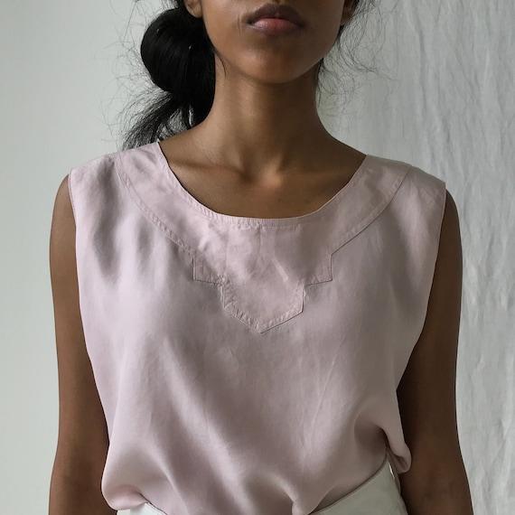 Lavender Pink Silk Top - Soft silk tank top size S