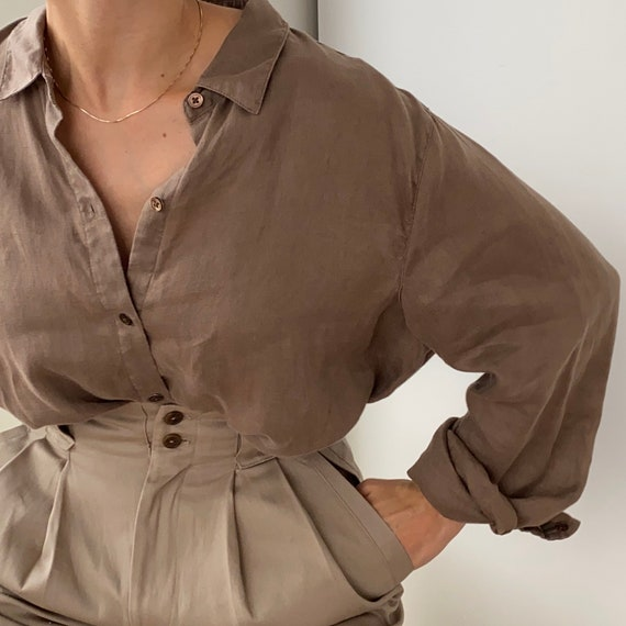 Taupe Linen Blouse ~ Oversized supple linen shirt