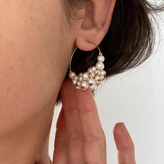 Pearl Cluster Hoop Earrings ~Delicate pearl cluste