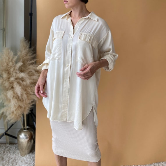 Cream Silk Blouse ~ Cream silk tunic length blouse