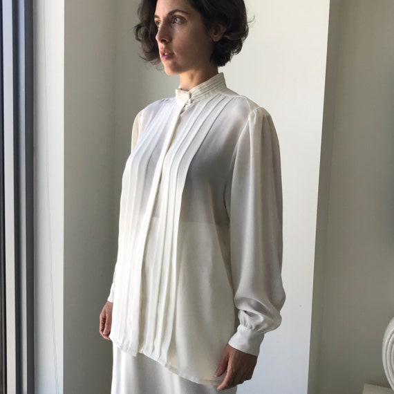 Pleated Ivory Blouse - buttery matte crepe size L… - image 4