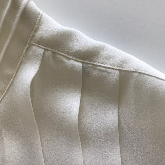 Pleated Ivory Blouse - buttery matte crepe size L… - image 7