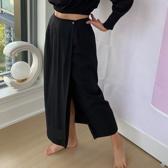 Linen Wrap Skirt ~ Soft long linen blend sheath sk