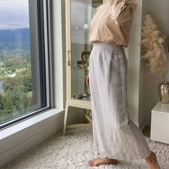 Linen Sheath Skirt ~ Beige soft long linen sheath