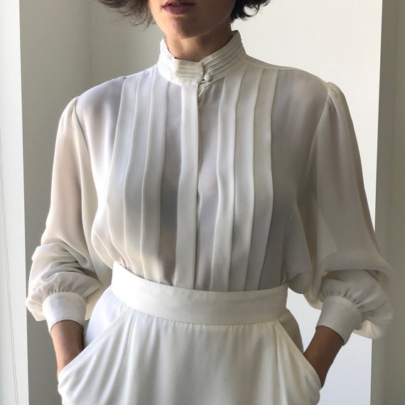 Pleated Ivory Blouse - buttery matte crepe size L… - image 3