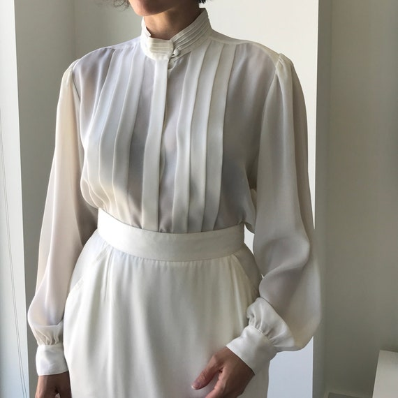 Pleated Ivory Blouse - buttery matte crepe size L