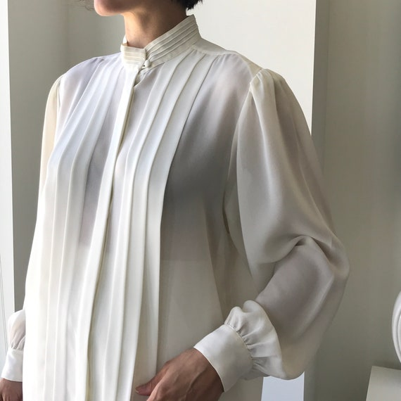 Pleated Ivory Blouse - buttery matte crepe size L… - image 2