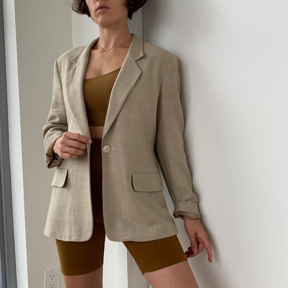 Tweed Linen Jacket - textured beige linen blazer