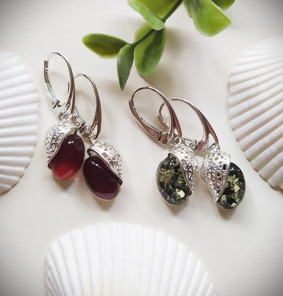 Baltic Amber cherry and green drops earrings,Classic dark cognac ,green amber & sterling silver 925 earrings,Amber jewelry