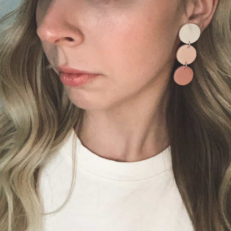 Gift for Her Lightweight Modern Geometric Pink Ivory Mauve Rose Statement Earrings Women/'s Polymer Clay Earrings Free Shipping