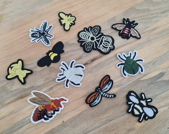 Small Bee and Insect Iron-On Patches, Cute Badges, Cute Sewing Patch, DIY Embroidery, Embroidered Applique, Bees, Bugs, Insects Patch