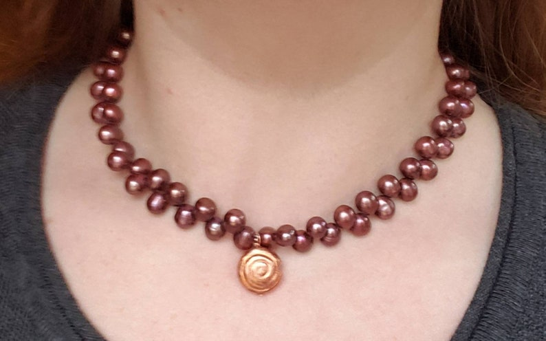 Maroon Pearl Necklace Mother/'s Day Gift Freshwater Keishi Pearl Jewelry Red Freshwater Pearl Necklace Copper Seashell Necklace